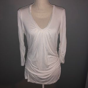 New York & Company Rouched 3/4 Sleeve Top